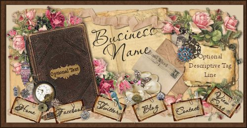 Romantic Vintage Scrap Web Design Template-web design, template, klein, roses, vintage, ephemera, jewelry, paper, postcard, antique, Victorian, shabby, chic